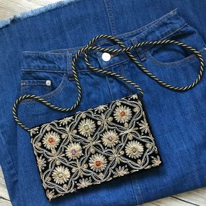 Handbags - Vintage Beaded Velvet Embroidered Crossbody Clutch